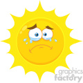 Royalty Free RF Clipart Illustration Crying Yellow Sun Cartoon Emoji Face Character With Tears Vector Illustration Isolated On White Background