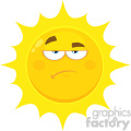 Royalty Free RF Clipart Illustration Grumpy Yellow Sun Cartoon Emoji Face Character With Sadness Expression Vector Illustration Isolated On White Background