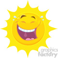Royalty Free RF Clipart Illustration Happy Yellow Sun Cartoon Emoji Face Character With Laughing Expression Vector Illustration Isolated On White Background