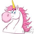 Clipart Illustration Magic Unicorn Head Classic Cartoon Character Vector Illustration Isolated On White Background