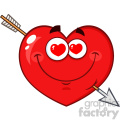Loving Red Heart Cartoon Emoji Face Character With Hearts Eyes And Arrow Vector Illustration Isolated On White Background