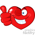 Red Heart Cartoon Emoji Face Character Winking and Giving A Thumb Up Vector Illustration Isolated On White Background