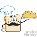 Chef Bread Slice Cartoon Mascot Character Presenting Perfect Bread Vector Illustration Isolated On White Background 1