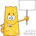 Happy Cheese Cartoon Mascot Character Holding A Blank Sign Vector Illustration Isolated On White Background