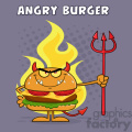 Angry Devil Burger Cartoon Character Holding A Trident Over Flames Vector Illustration With Purple Halftone Background And Angry Burger Text