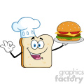 Chef Bread Slice Cartoon Mascot Character Presenting Perfect Burger Vector Illustration Isolated On White Background