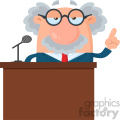 Professor Or Scientist Cartoon Character Speaking Behind a Podium With Speech Bubble Vector Illustration Flat Design Isolated On White Background