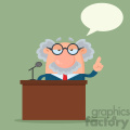 Professor Or Scientist Cartoon Character Speaking Behind a Podium With Speech Bubble Vector Illustration Flat Design With Background