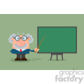 Professor Or Scientist Cartoon Character With Pointer Presenting On A Board Vector Illustration Flat Design With Background