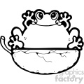 cartoon clipart frog 014 bw