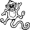 cartoon clipart monkey 009 bw
