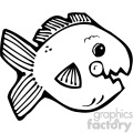 cartoon vector fish 007 bw