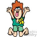 cartoon girl jumping having fun