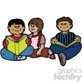 group of kids reading vector art