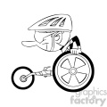 black and white cartoon disabled racer