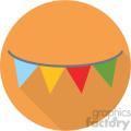 party banner on orange circle background