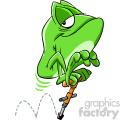 frog using pogo stick cartoon character