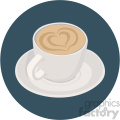 latte cup with heart design for valentines on circle background