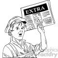 black white vintage boy delivering newspaper vector clipart