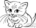 cat cats kitten kitty kittens   anmls037b_bw clip art animals