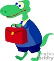 Green dinosaur carrying a red briefcase
