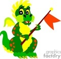 cartoon dragon holing a flag