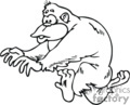 animals gorilla gorillas monkey ape apes running run   gorilla005_ss_bw clip art animals monkeys