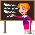 Teacher in front of the class room pointing to the blackboard