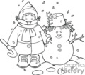 Black and White Bundled Up Child and Snowman
