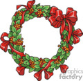 Green Holly Berry Wreath with a Red Bow