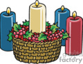 Holiday Candles In a Basket of Holly