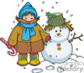 Colorful Bundled Up Child and Snowman