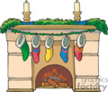 Color Fireplace with Mantel Holding Christmas Stockings