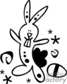 Black and White Whimsical Easter Bunny