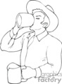 black and white man drinking two mugs of beer gif