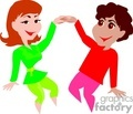 A Couple Dressed in Bright Colors Dancing and Holding Hands