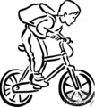 Black and white boy riding his bike with a backpack on his back