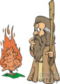Moses next to the burning bush