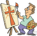 artist painting a cross gif