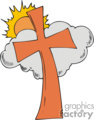 Orange cross with grey cloud with the sun behind it