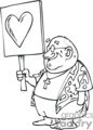 black and white man holding a heart sign