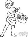 a black and white christian boy with a basket of olive leaves gif