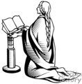 drawing of a women praying in church