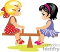 Two Little Girls Playing on a Teeter Totter