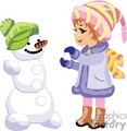 a little girl making a snow man gif, png, jpg, eps