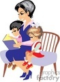 a woman reading a story with two small children gif, png, jpg, eps