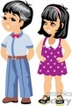 A little boy in blue and a little girl in a purple polka dotted dress
