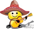 smiley face playing guitar wearing a sombrero