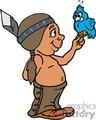 Small Navajo boy holding a blue bird