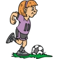 female soccer player kicking the ball.